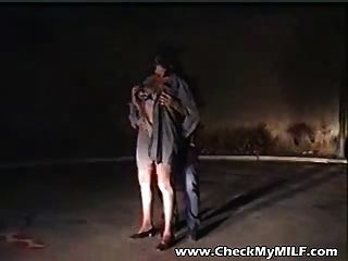 Skanky Milf Gets Fucked On The Streets By Two Guys