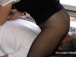 Smothered In Pantyhose And Nylon Handjob