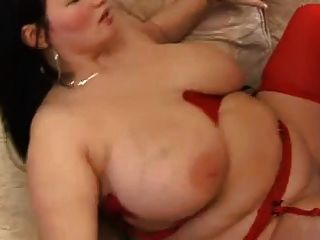 Chubby Brunette  With Big Tits In Red Stocking
