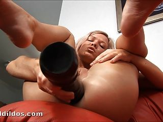 Tight Blonde Teen Fucking Her Ass With A Big Dildo