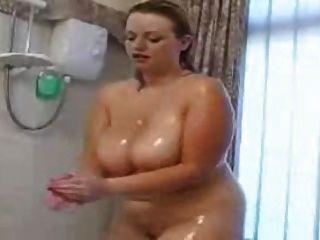 Chubby girls showering