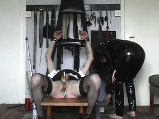 Straight jacketed male ass fucked and milked 5