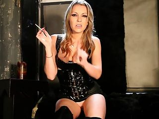 Blonde Smoking Mistress Giving The Intructions