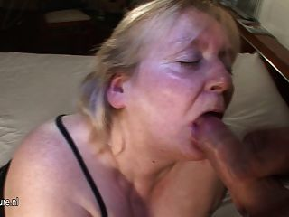 Big Mama Gets Her Face Covered In Cum