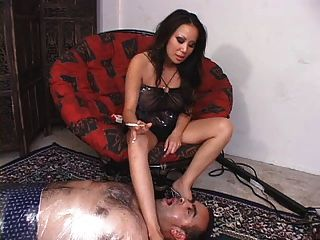 Sexy Asian Girl Smoking & Spitting On Lucky Guy