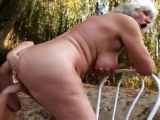 Hairy gummy granny in stockings sucks and fucks 5