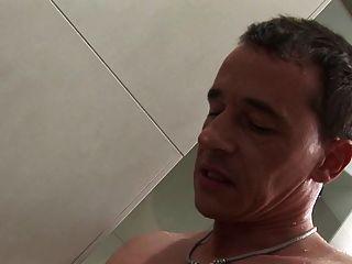 British Blonde Slut In A Ffm Threesome In The Shower