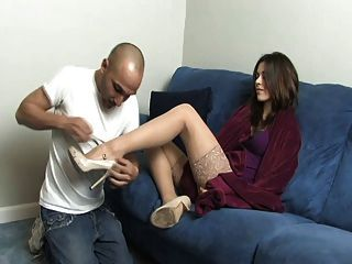 Hot Stocking Lady And Her Feet Slave