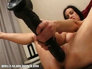 Brunette Cumming All Over A Huge Brutal Dildo