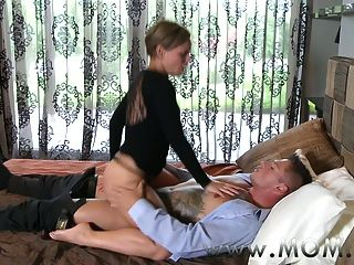 Mom Mature Brunette Rides His Cock