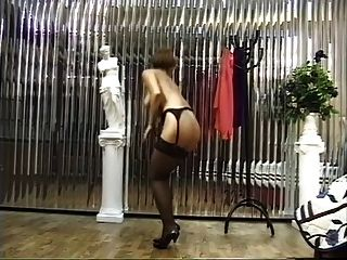 Hot Brunette In Stockings Bends Over And Shows Off Her Tight Pussy