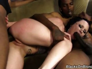 Black Cock Slut Veruca James Hard Fucked By Black Gang