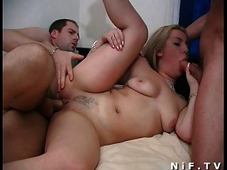 Naughty French Slut Gets Double Penetrated