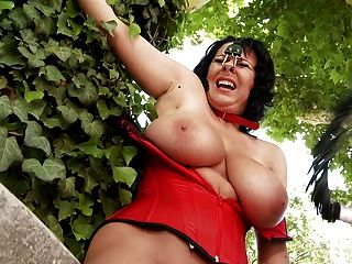 Femdom - A Brunette Milf Humilated In Outdoors-treatment