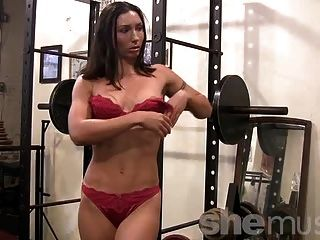 Busty milf double penetrated at the gym