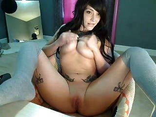 Emo Tattooed Girl Strips And Bares All