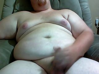 Fat Guy Stroking His Cock For You.