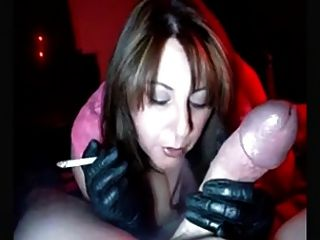 Hot Milf In Gloves Smoking Jerking And Sucking