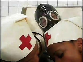 Ebony nurses ride tied down gas mask guy 8