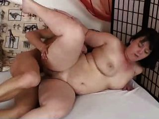 Older Chubby Brunette Masturbating And Fucking With Young