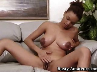 Busty Gia Playing Her Huge Tits And Hairy Pussy