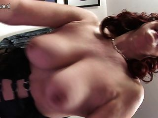 Naughty Red Mature Mother Playing With Herself