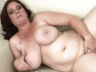 Brunette With Huge Boobs Dildoing