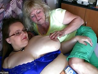 image Oldnanny two horny woman masturbate hard