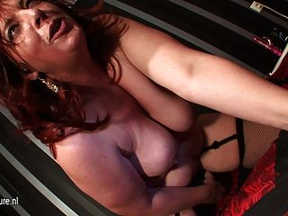 Shaved Big Mature Mother Playing With Herself