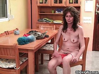 Sleazy Grandma With Small Saggy Tits And Hairy Cunt