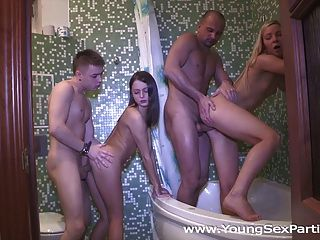 Young Sex Parties - Hot Sex Party In A Bathroom