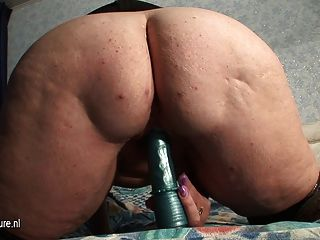Old Granny With Saggy Tits Squirting Alone