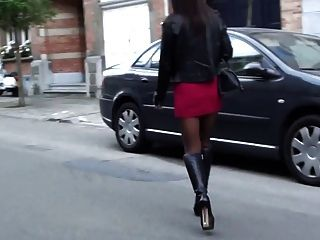 Teen In Slutoutfit In The Street Belgium & Upskirt&pantyhose