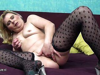 Dirty Grandma Slut Playing Alone