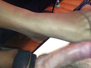 Nylon Footjob For Husband Friend
