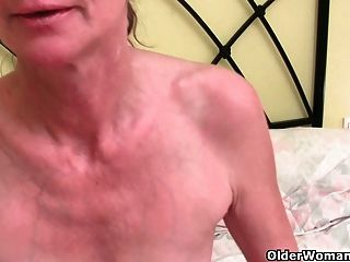 Skinny Grandma With Bushy Cunt Gets The Finger Treatment