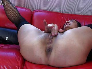 Old Mature Slut Mom Loves Her Big Dildo