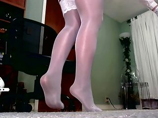 Shiny Stockings Over Tights