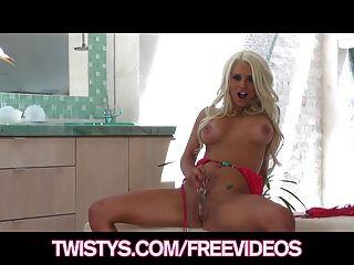 Twistys - Busty Blonde Bikini Babe Plays With Her New Dildo