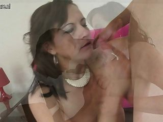 Mature mother squirts from sons big cock