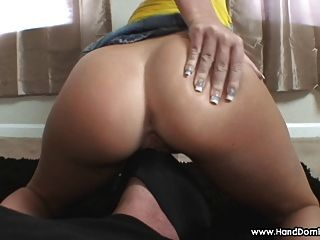 Blonde Girl Face Sitting Her Big Butt Smothers Slave Face