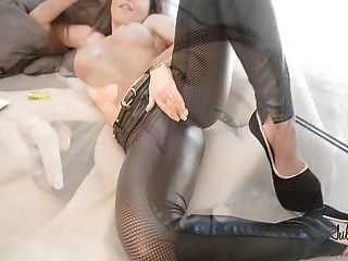 Femdom: Teasing Leather Pant & Smoking: How Long Dy Resist?