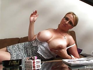 Busty Blonde Smoking Relax