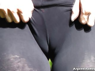 Round Ass & Cameltoe In Worn Out Black Leggins! See Through