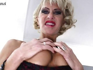 Hot Mature Pierced Mom Takes Huge Black Dildo