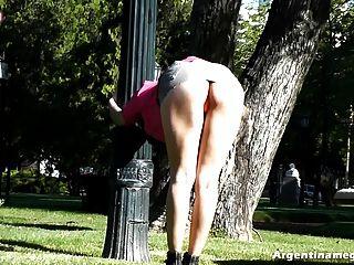 Sexiest Upskirt!! Showing Her Ass In Public Park! Best Legs!