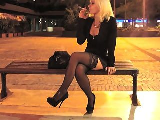 Teasing Night With Heels And Stockings