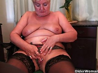 Full Figured Granny Masturbates With A Dildo