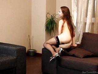 Teen Girl Posing Nude On A Sofa