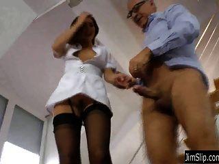 Brunette Nurse Gets Fucked And Jizzed